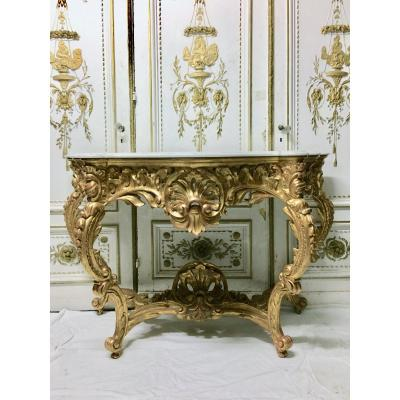 19th Century Louis XV Style Console In Gilt And Richly Carved  Wood