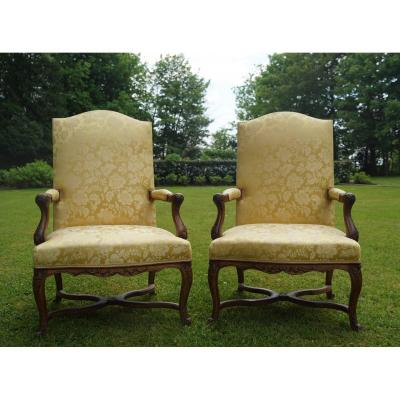 Pair Of High Back Armchairs, Regency Period