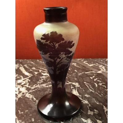 Small Vase Signed Emile Gallé Decor From The Black Forest.