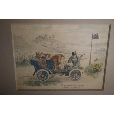 Two Old Automobile Caricature Drawings Circa 1897