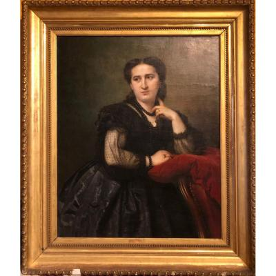 Félix Genaille. Large Oil On Canvas Lady Of Quality. 1864