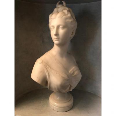 Buste En Marbre Blanc Représentant Diane ..