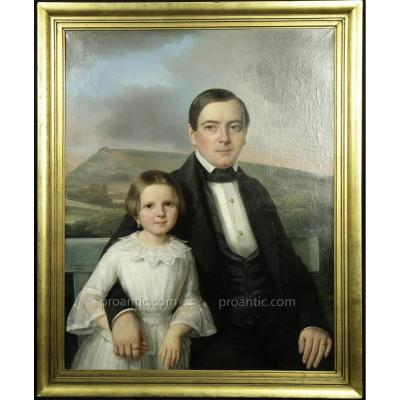 """""""père Et Fille"""", Grand Portrait Par Jean-marie Jacomin (lyon, 1789-1858)"""