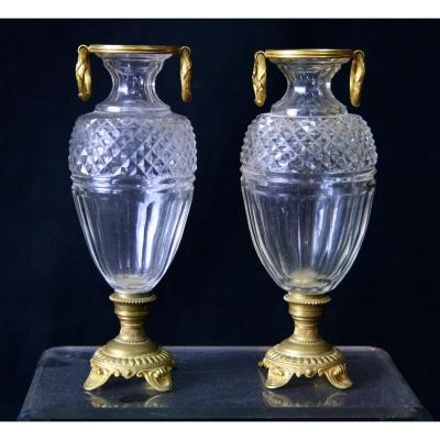 Pair Of Small Vases Crystal Urn Bronze Mount.