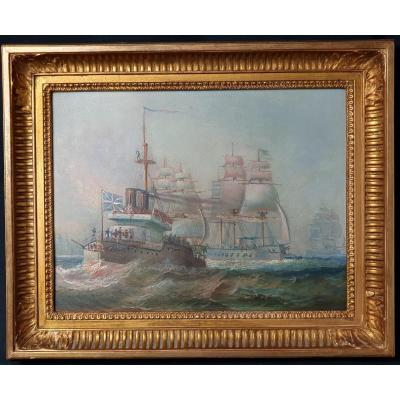 Naval battle scene, oil on mahogany panel. Anonymous work from the end of the 19th century in which sailing ships and steamships clash. The unit in the foreground flies the English flag. Overall dimensions: 45 x 36.5 cm View dimensions: 35 x 26.5 cm The price indicated includes the costs of shipping this painting.
