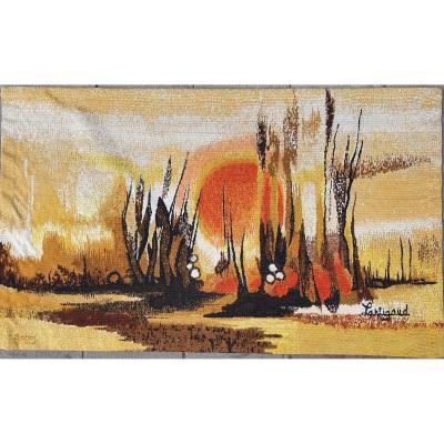 """""""FLORIDE"""" sérigraphie à cœur de laine d'après un carton de J. M. Lartigaud, édition Robert Four"""