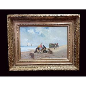 Return From Fishing, Oil On Canvas Framed From The End Of The XIXth Century