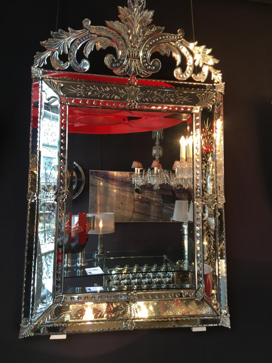 Glace venise miroir venitien miroirs for Grande glace miroir