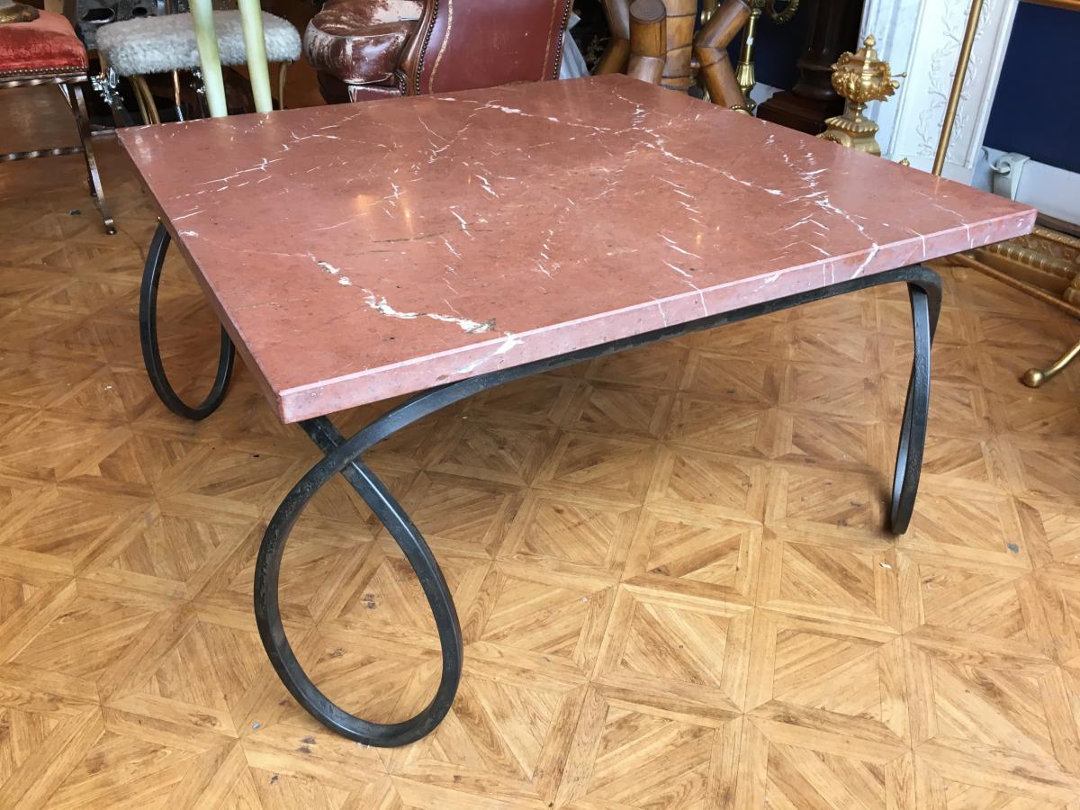 Table Basse 1980 Fer Forgé Et Marbre