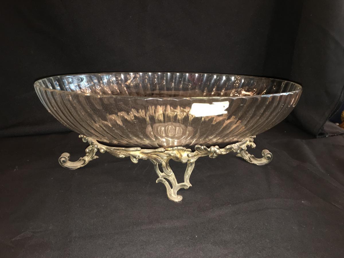 Coupe Cristal Baccarat XIXème A Monture En Bronze Argente