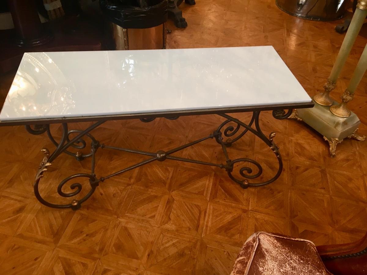 Coffee Table Bronze And Opaline Tray