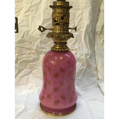 Paire Lampes Opaline rose  Napoleon III