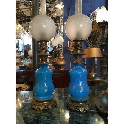 Paire De Lampes Opaline Bleu Napoleon III