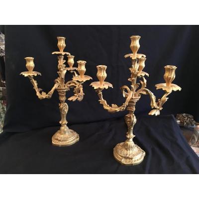 Chandelier / Candelabre  Paire  Style Lxv En Bronze Doré