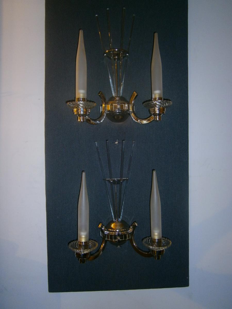Epoque Art Déco, Belle paire d'appliques à 2 bras de lumière