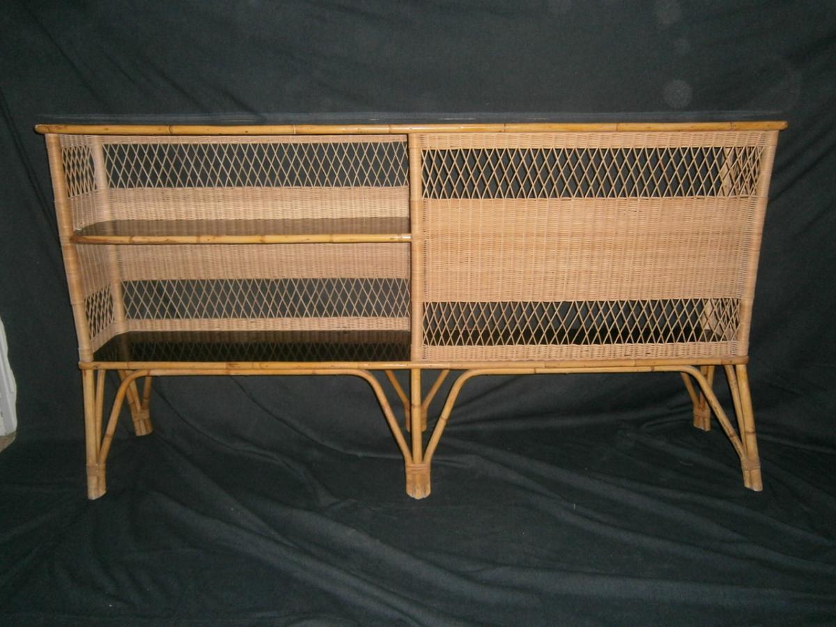 Exceptionnel Bar d'entre-deux en bambou et rotin Années 50/60