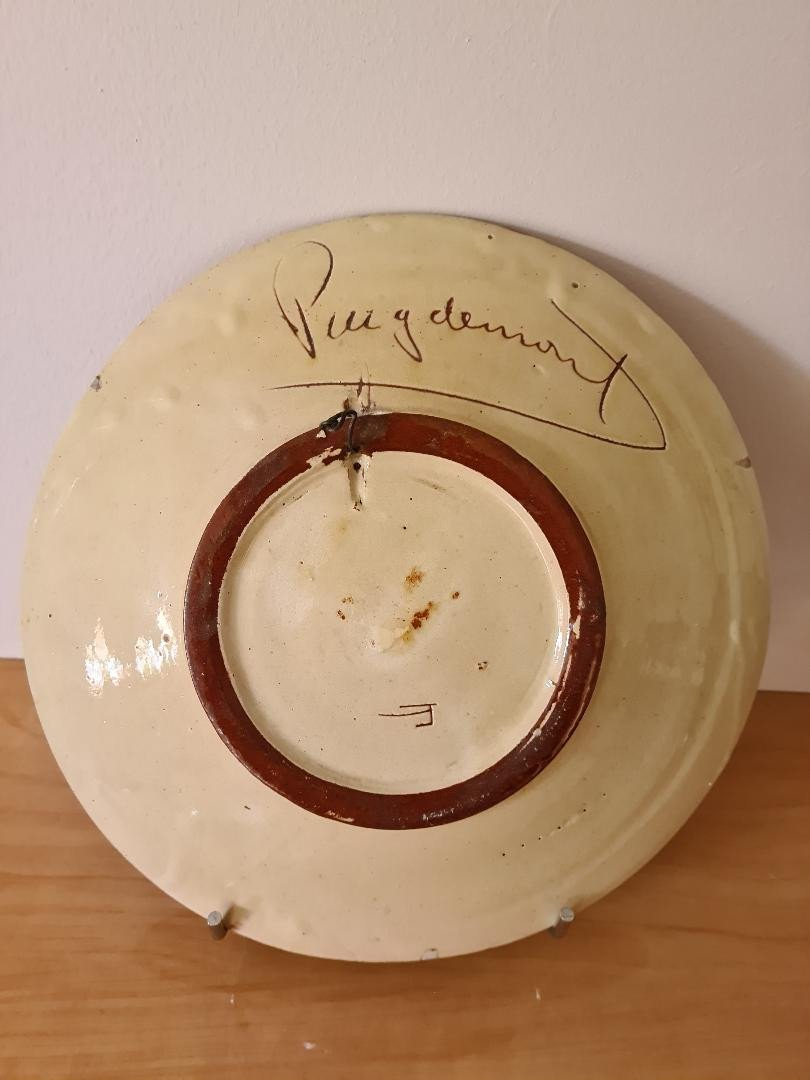 Earthenware Dish Signed Puygdemond-photo-2