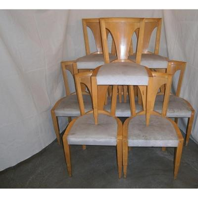 Rare Set Of 8 Gondola Chairs Art Deco 1930
