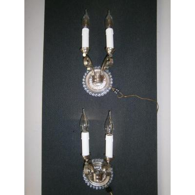 Pair Of Art Deco Applies To 2 Sconces