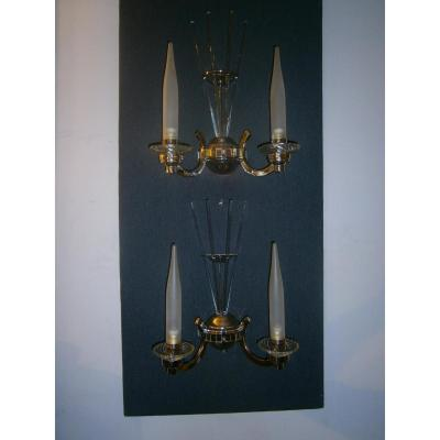 Vintage Art Deco Beautiful Pair Of Wall Sconces 2
