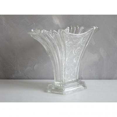 Vintage Art Deco Molded Glass Vase Pressed Stylized Flower Decor.