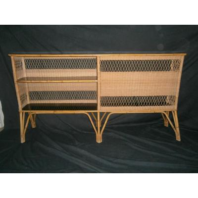 Exceptional Bar Entredeux Bamboo And Rattan Years 50/60