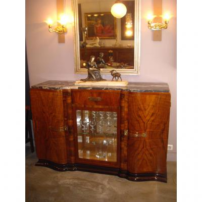 Sideboard Art Deco Three Doors Walnut