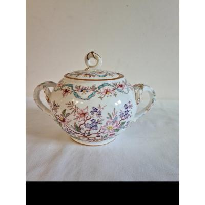 Sarreguemines Porcelain, Sugar Bowl Decorated With Fismes