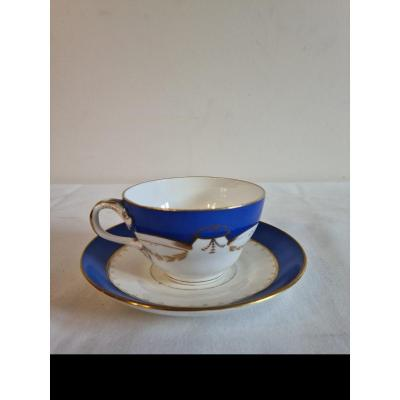 Porcelain From Sarreguemines, Cup And Under Cup