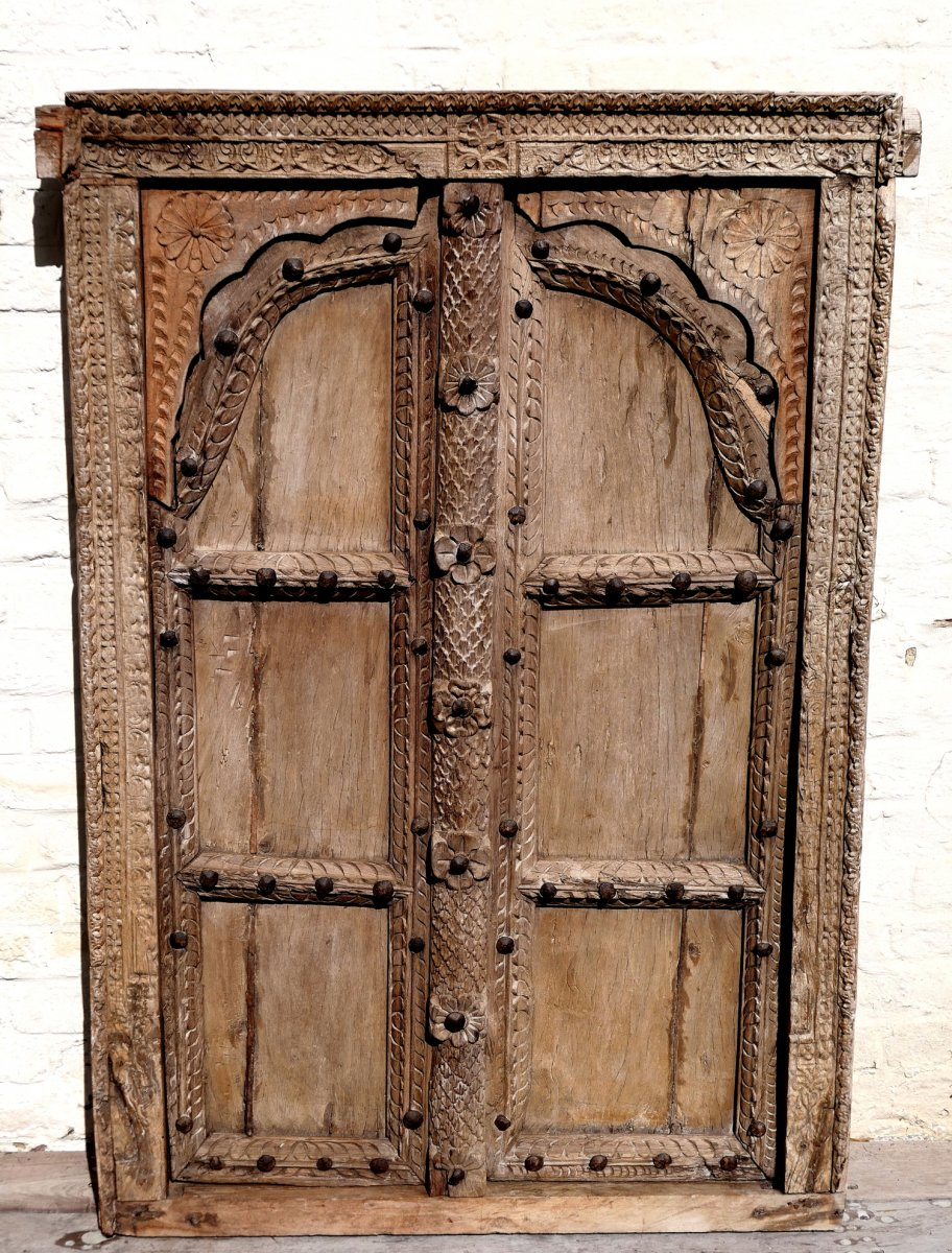 Large Carved Wood Window - India - Nineteenth Century