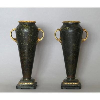 Pair Of Bronze Vases - Paul Louchet