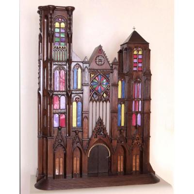 Maquette De La Cathédrale De Bourges En Bois Sculpté