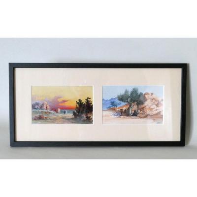 2 Paysages Orientalistes Animés