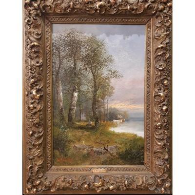 Paysage. Peinture Signée Par Adolphe-Philippe Millot. Paris. 1857-1921.