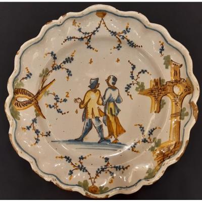 Assiette En Céramique Polychrome. Cadre De Phare. Savona. Italie. Siècle XVIII. Mesure: 29,4 Cm