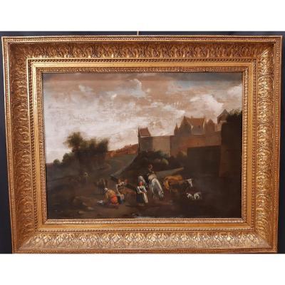 Adriaen Van De Velde. Un Paysage Hollandais. Signé Et Daté 1660. Amsterdam 1636-1672.