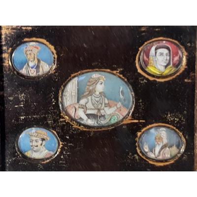 Miniatures Encadrées De Maharajas. Inde. XIXème Siècle. Cadre d'Origine
