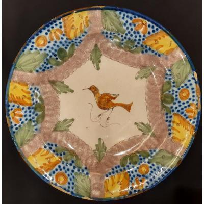 Assiette En Céramique Polychrome. Manises. Valence. Espagne. XIXème Siècle