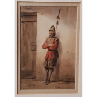 Soldat. Aquarelle Sur Papier. Signé Par Pierre Françoise Le Roy 1815-1861. Datée  1831.