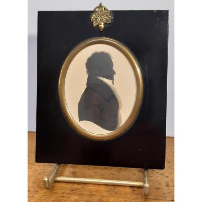 Miniature, Silhouette. Signé: Henry William Field, 1810-1882. Angleterre.