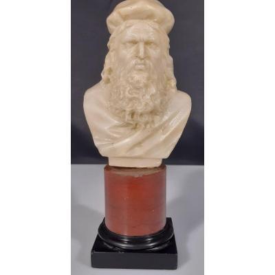 Leonardo Da Vinci. Albâtre Et Marbre. Grande Tournée. Italie. 19e Siècle