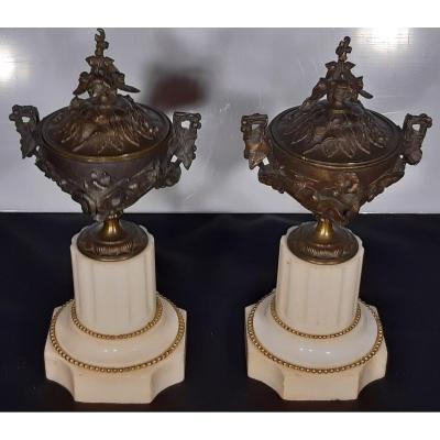Paire De Cassolettes. Bronze Et Marbre. France. Napoléon III. XIXème Siècle.