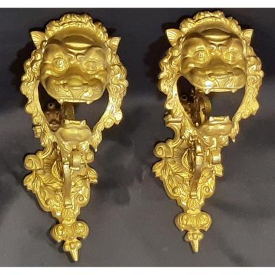 Paire d´embrasses De Rideaux En Bronze Doré. Tête De Lion. France. Napoléon III. XIXème Siècle.