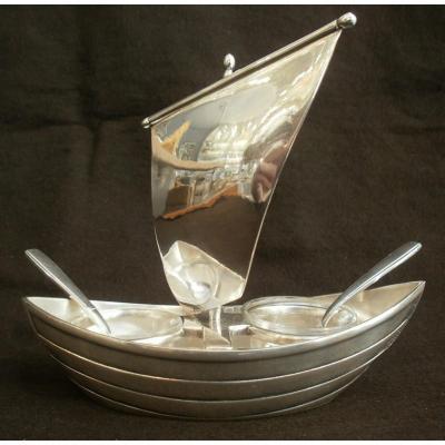 Gallia - Christofle - Boat - Salt And Pepper Pot