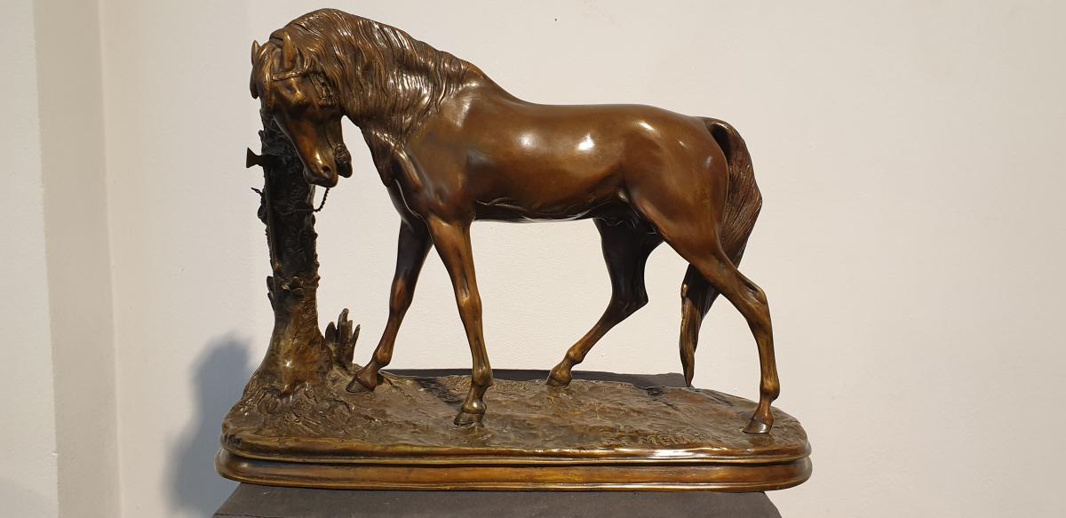 Palm Tree Horse By Pierre-jules Mène (1810 - 1879)