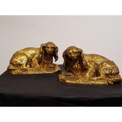Pair Of King Charles By Pierre-jules Leads (1810-1879)