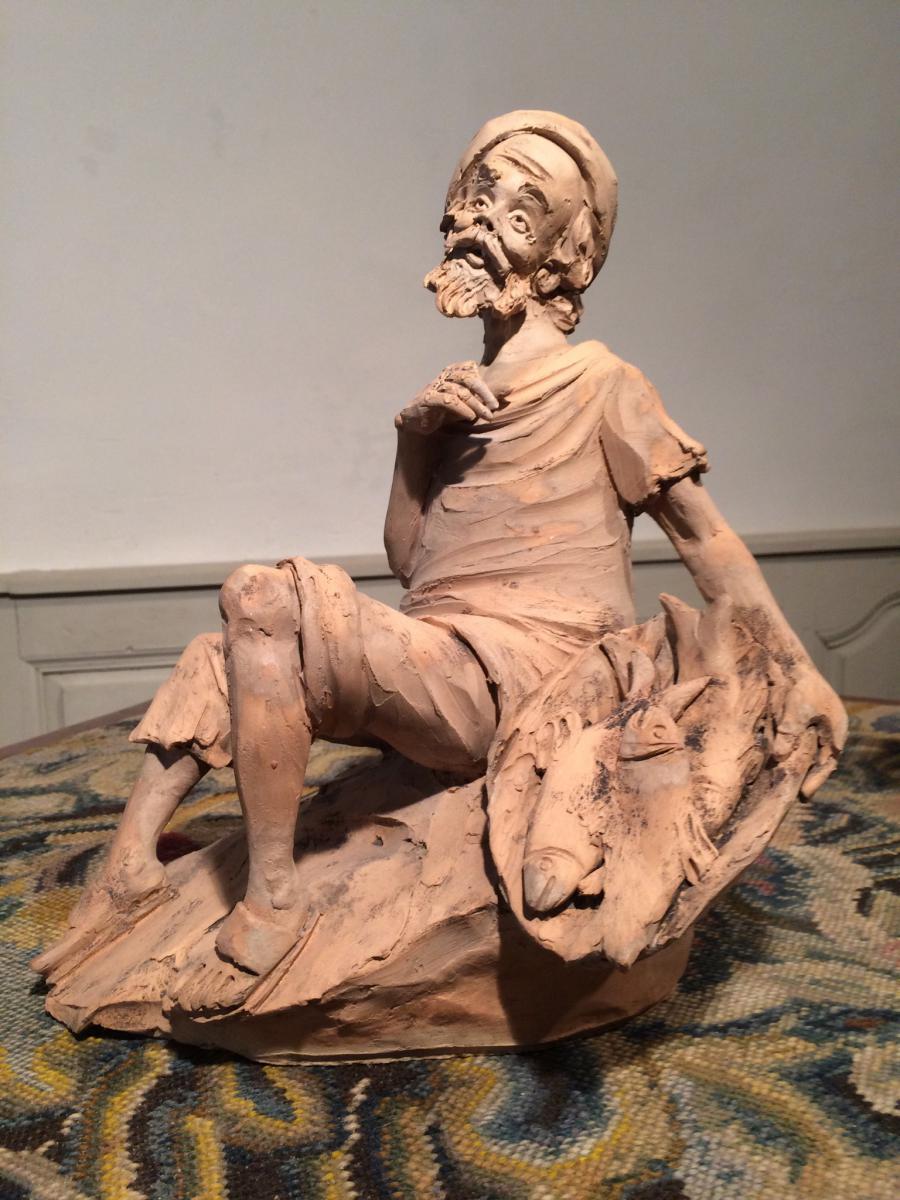 Sculpture Terracotta Signed Paoletti