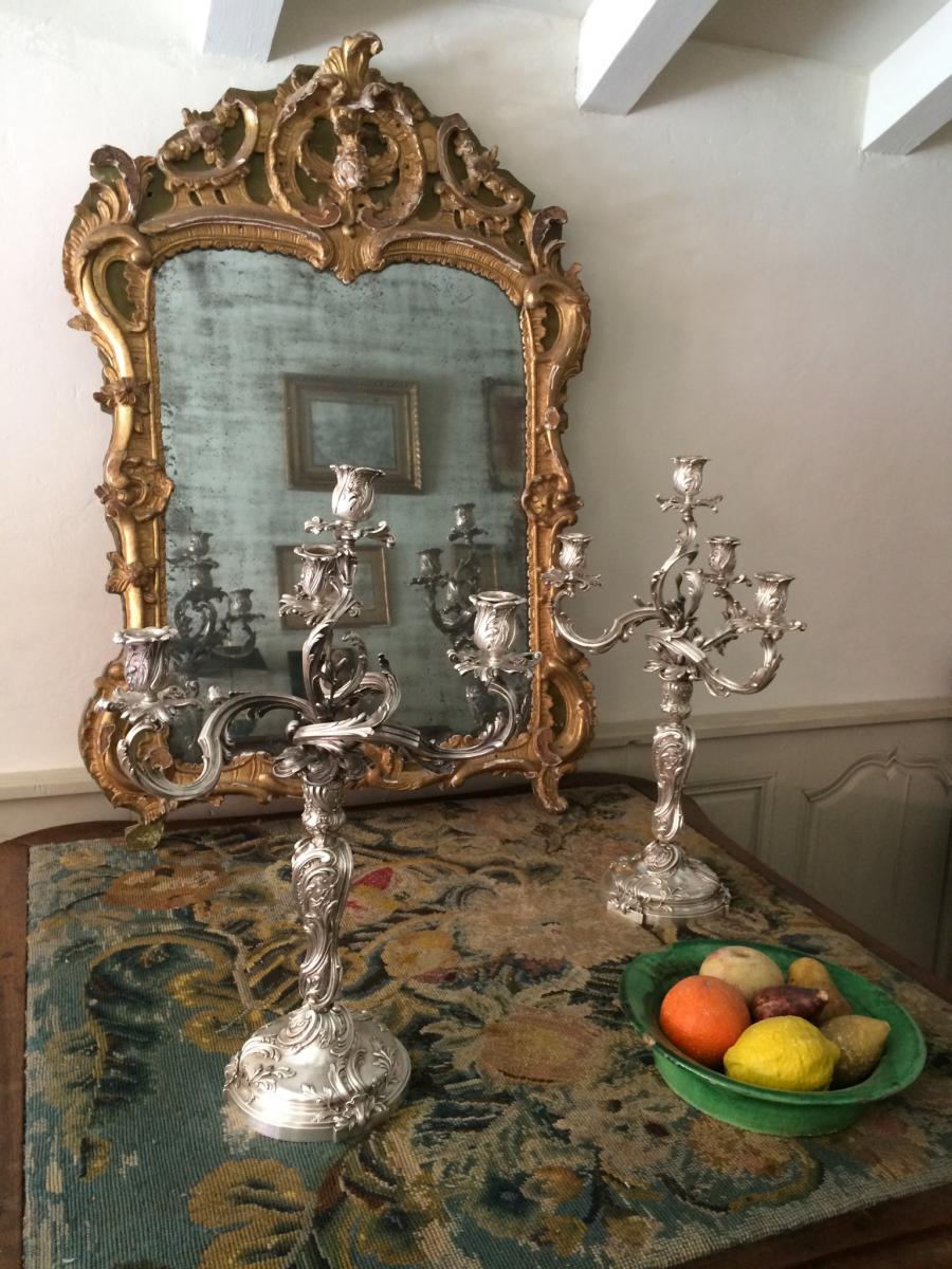 Pair Of Candelabra In Silver Bronze Decor Rocaille