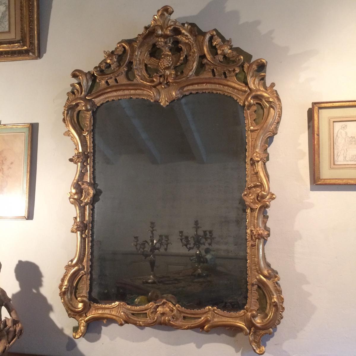 Miroir En Bois Sculpté Et Doré D'époque Louis XV
