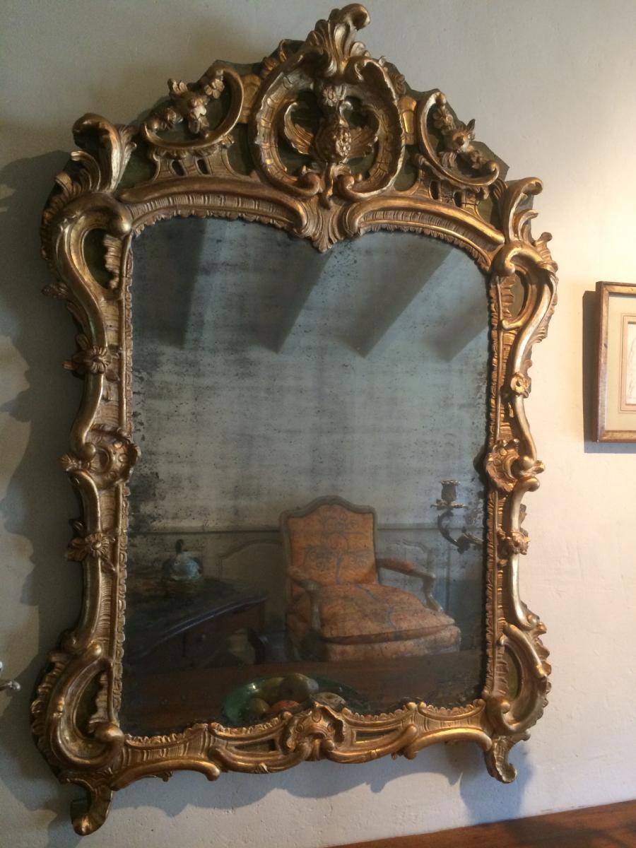 Miroir En Bois Sculpté Et Doré D'époque Louis XV-photo-2